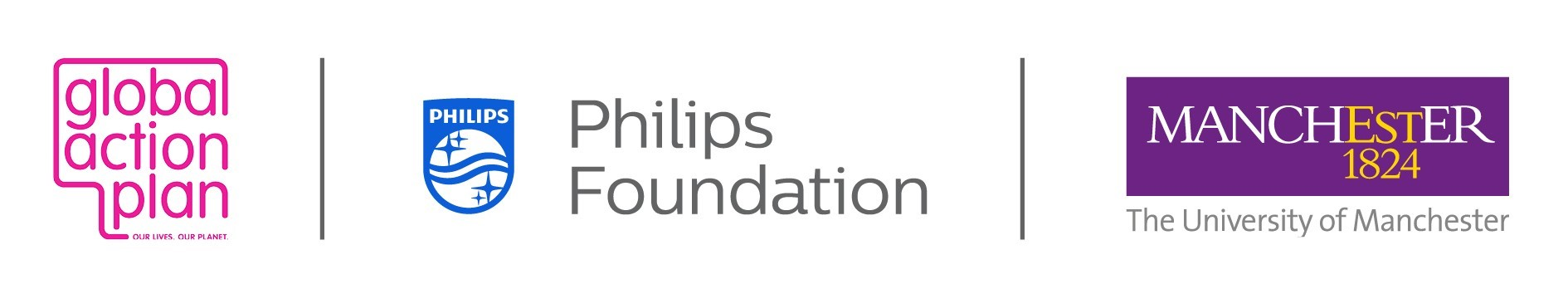 Logos for Global Action Plan, Philips Foundation and The University of Manchester