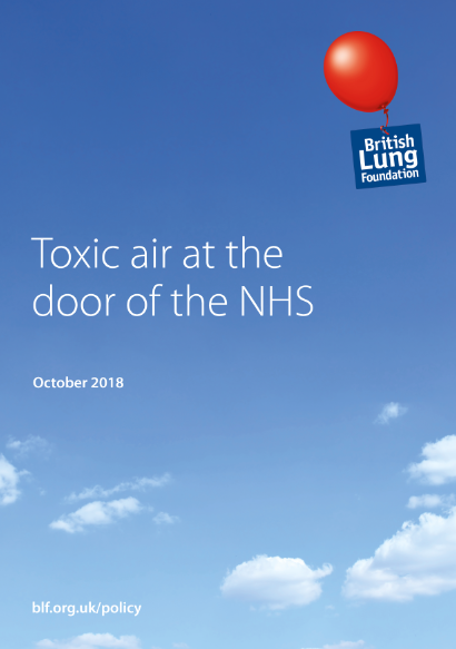 "froont cover of the British Lung Foundation report ""Toxix air at the door of the NHS"""
